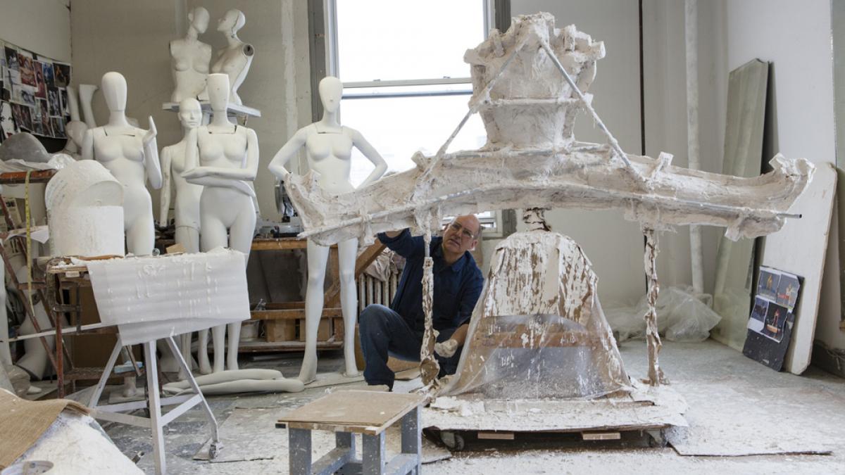 Sculptor Michael Evert in His Studio, With Mannequin Mold