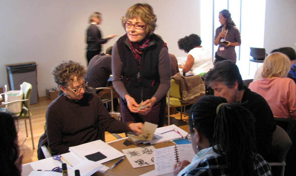 artist Béatrice Coron leads a workshop for teachers