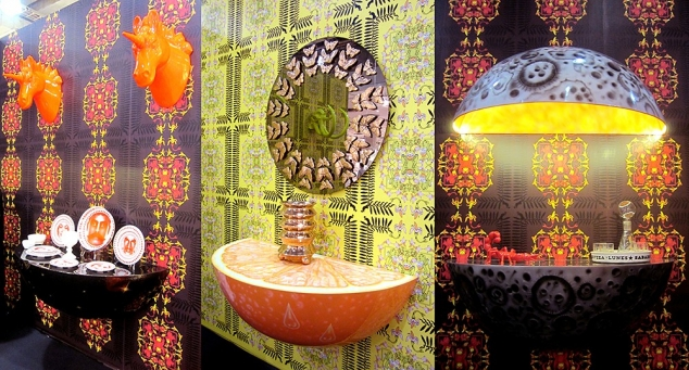 DFC, Casual Dinnerware (2013), Orange Crush Fiberglass Wall Console (2013), Rosario Mirror (2013)