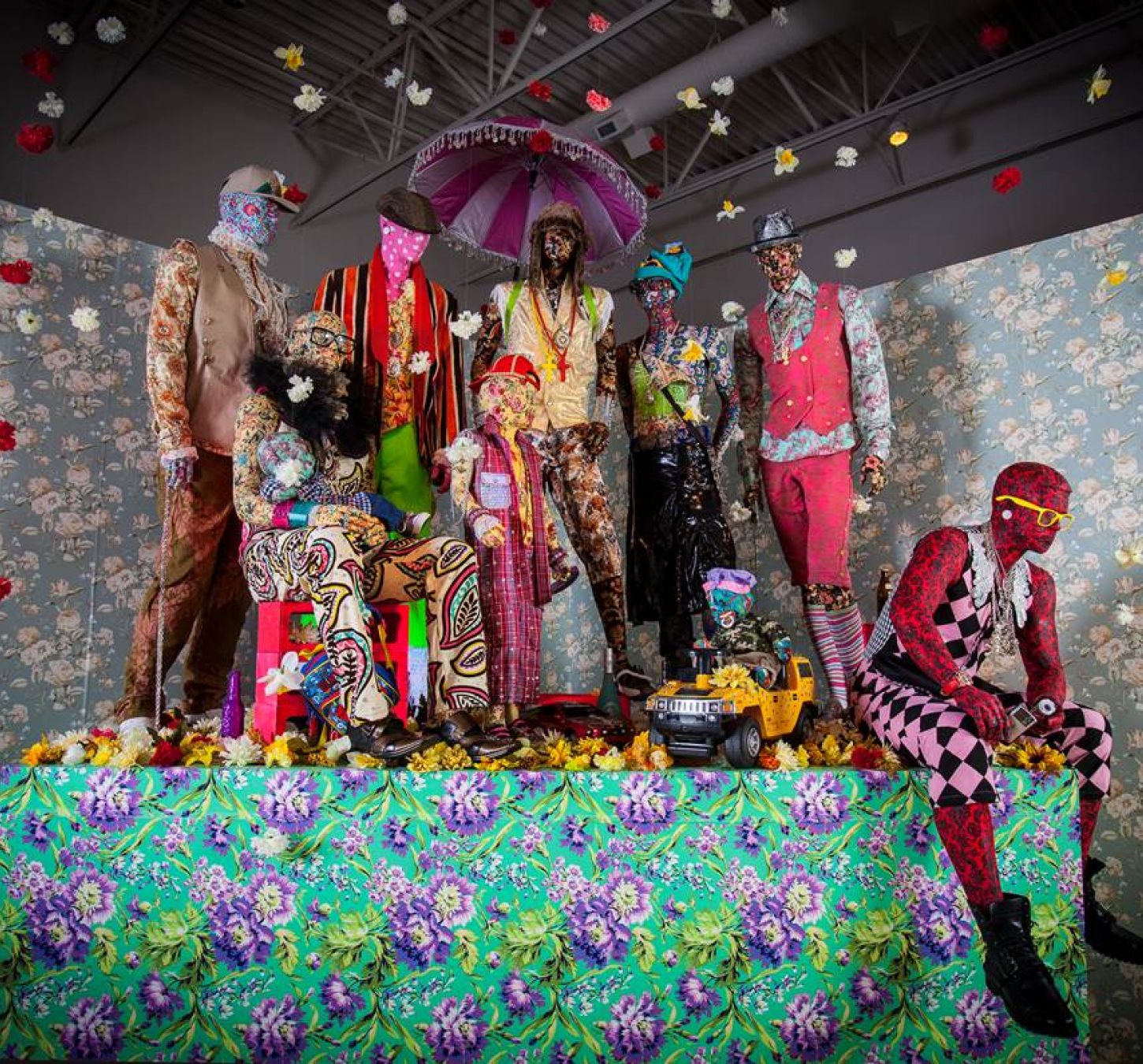 Ebony G. Patterson. Swag Swag Krew (from the Out and Bad series). Installation view, John Michael Kohler Arts Center, 2011–14.