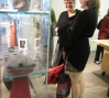 Visitors discussing completed artworks made in the Open Studios.: Photo: Katherine Miller