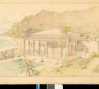 Conceptual drawing of Playhouse at Shangri La, ca. 1936.  H. Drewry Baker, Wyeth & King, Architects, image courtesy Shangri La Historical Archives, Doris Duke Foundation for 