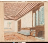 Drawing of a scheme for Shangri La living room, May 1937. P. Vary, S.A.L.A.M. Rene Martin, image courtesy Shangri La Historical Archives, Doris Duke Foundation for Islamic Art, Honolulu, Hawaii.