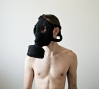 Gas Mask (black), crocheted yarn, 2011.: Gas Mask (black), crocheted yarn, 2011.