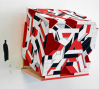 "RAW WAR (Cube) 2012: Dye-based inkjet and spray paint on bamboo paper, 4"" x 4"" x ""4"