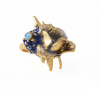 "Ruth Reifen:  Supreme1; Gold plated copper, crystal, glass,automotive paint, enamel resin. Womens ring size: 7. Dimension: 1.5""1""x0.75"". 2013"