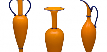 Orange High Neck Vase with Blue Outline, 1993: Dante Marioni. Blown glass. Photo: Ed Watkins, 2008