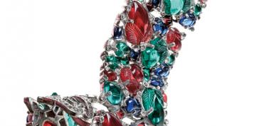 "Trifari (circa 1940s), United States: ""Fruit Salad"" bracelet. Molded glass, rhinestones, rhodium plated. Signed Trifari. Inspired by Cartier tutti-frutti jewelry. © Pablo Esteva"