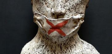 Teresa Gironès: Víctima [Victim], 2012 Stoneware, porcelain 29 15/16 x 15 3/4 x 11 in. (76 x 40 x 28 cm)  Courtesy of the artist