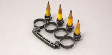 The Pointilist, 1999: Kiff Slemmons; Silver, pencils; Gift of Virginia Holshuh, 2008, Photo by Matthew Cox