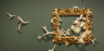 Jennifer Trask: Intrinsecus, 2010, Wood, bone, antler, silver, gold leaf, 52 x 82 x 10 in. (132.1 x 208.3 x 25.4 cm)