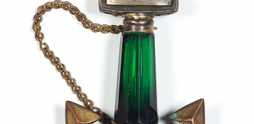 Artist Unknown, Anchor-Shaped Vinaigrette (pendant), ca. 1855: Ambrotype, silver plate, glass, 3 x 2 x 1/2 in. (7.6 x 5.1 x 1.3 cm), Collection of Daile Kaplan, Photo credit: Matthew Starr