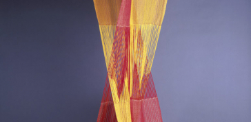 Trude Guermonprez; Banner, 1962: Silk, brass rods; double weave 81 x 28 x 28 in. (205.7 x 71.1 x 71.1 cm) Museum of Arts and Design, Purchased by the American Craft Council with funds from the Valerie Henry Memorial Fund, 1967, 1967.96 Photo Credit: Eva Heyd