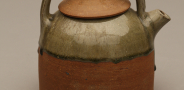 Byron Temple; Teapot, 1967: Glazed clay; wheel thrown, hand built 7 x 6 1/4 x 5 1/2 in. (17.8 x 15.9 x 14 cm) Museum of Arts and Design, Museum purchase with funds provided by Frank E. Heaston and Dr. Robert C. Reynolds, through the American Craft Council, 1967, 1971.2 a,b  Photo Credit: Ed Watkins