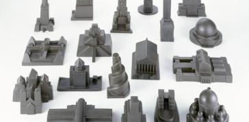 Constatin Boym, Laurene Leon Boym, Composite bronze: Eighteen Buildings (from the Missing Monuments Series), 1997–9, Photo: Eva Heyd