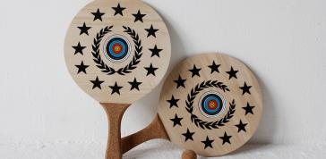 Fredericks and Mae; Beach Tennis, 2013: Baltic birch, cork, ink, cotton;  Photo: Darroch Putnam