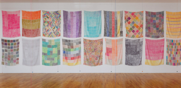 Polly Apfelbaum: Handweavers Pattern Book installation, 2014<br> 30 textiles: marker on rayon silk velvet<br> 10 ceramic beads on embroidery thread<br> Courtesy of the artist and Clifton Benevento<br> Photo by Andres Ramirez