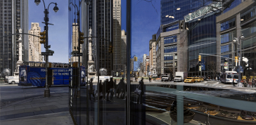 Columbus Circle Looking North, 2009: Oil on canvas; 40 x 56 1/4 in.; Linden and Michelle Nelson Tenants by the Entirety; © Richard Estes; Courtesy Marlborough Gallery, New York