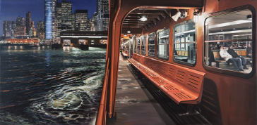Staten Island Ferry Arriving in Manhattan, 2012: Oil on canvas; 37 x 65 5/8 in.; Courtesy of a private collection; © Richard Estes, courtesy Marlborough Gallery, New York
