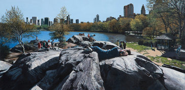 Richard Estes: Sunday Afternoon in the Park, 1989; Oil on canvas 24 x 44 in. (60.96 x 113.03 cm); Courtesy of the artist; Photo by Bruce Schwarz