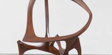 Walnut Sculpture, 1958-59: Walnut, brass pins<br> 55 1/2 x 42 in. (141 x 106.7 cm)<br> Courtesy of Friedman Benda, New York, NY<br> Photo courtesy of Friedman Benda and the artist; Photo by Adam Reich Photography