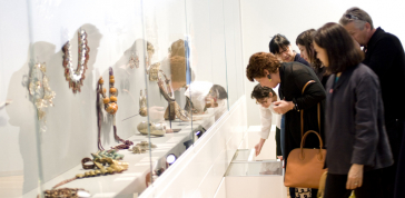 Visitors view the jewelry galleries