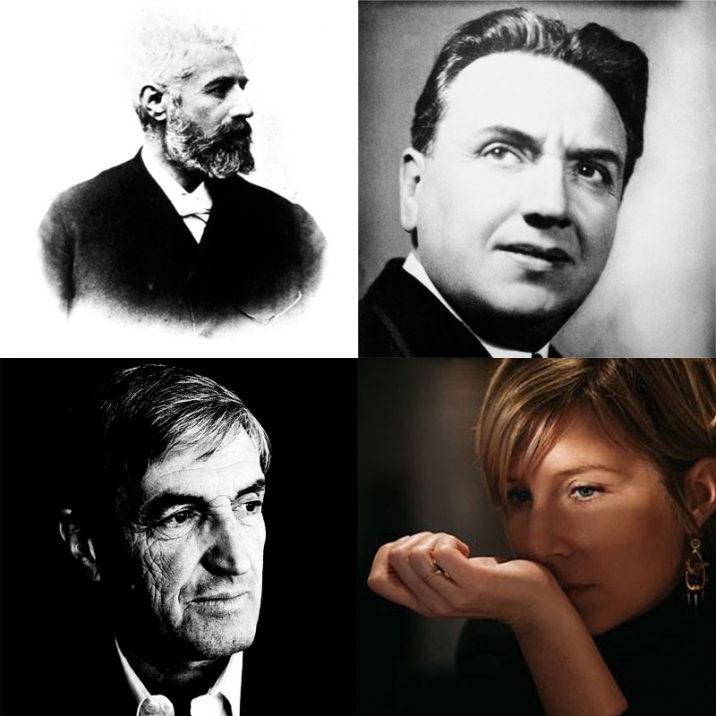 From Top Left, Clockwise: Aimé Guerlain, Ernest Beaux, Daniela Andrier, and Jean Claude Ellena.