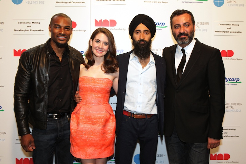 The Co-Chairs of the 2011 FLUORESCENTBALL; from left to right: Tyson Beckford, Alison Brie, Waris Ahluwalia, and Mazdack Rassi.