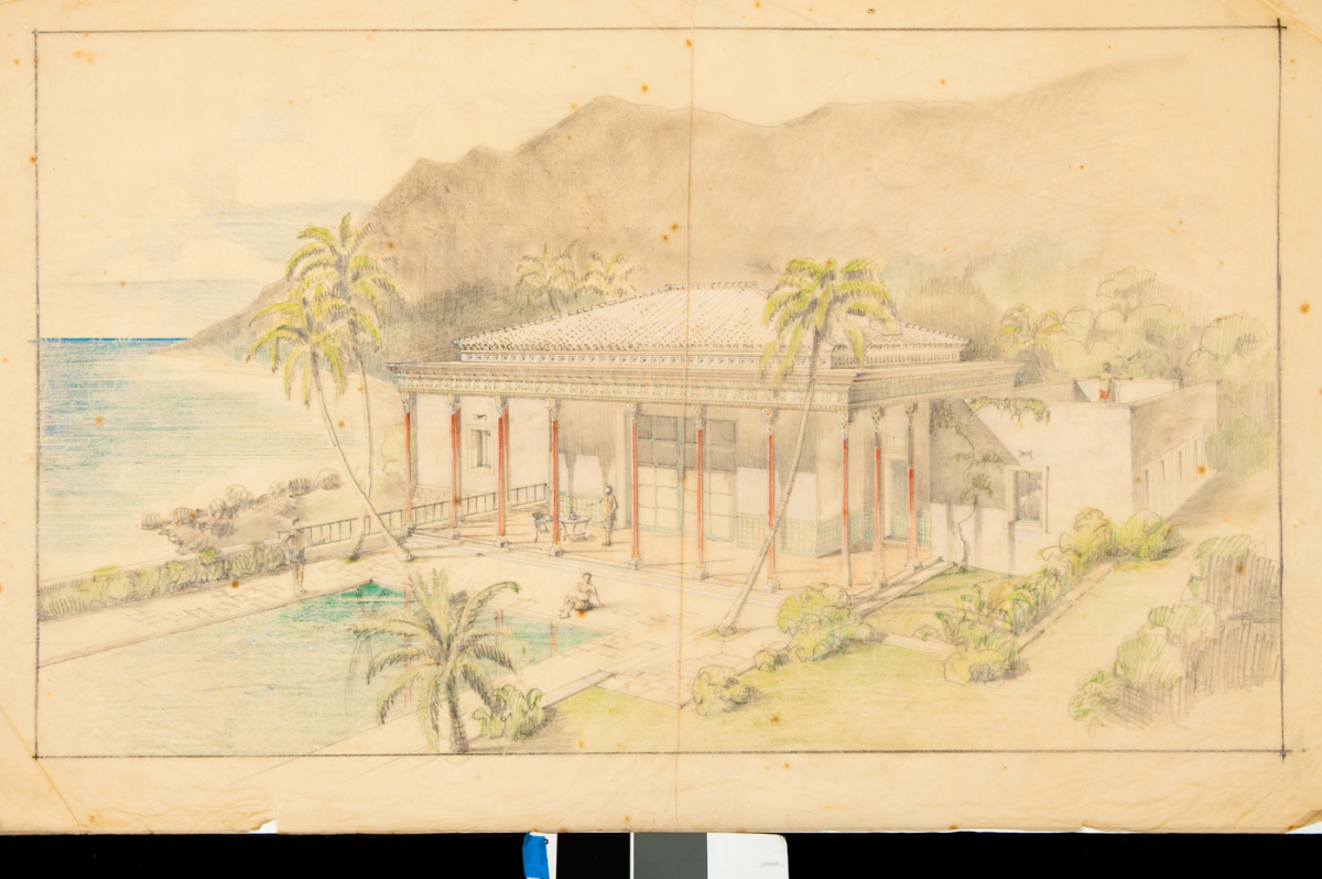 Conceptual drawing of Playhouse at Shangri La, ca. 1936. H. Drewry Baker, Wyeth and King, Architects, image courtesy Shangri La Historical Archives, Doris Duke Foundation for Islamic Art, Honolulu, Hawaii.