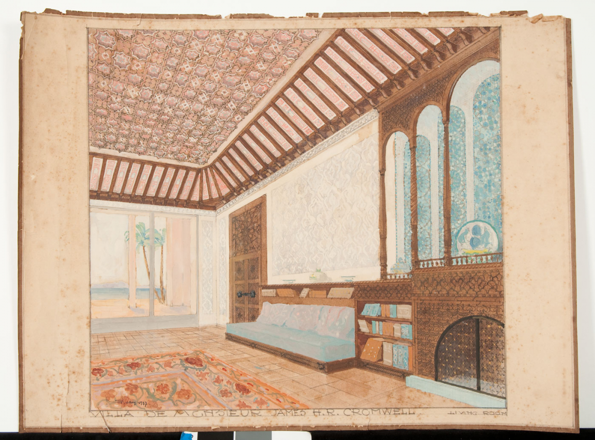Drawing of a scheme for Shangri La living room, May 1937. P. Vary, S.A.L.A.M. Rene Martin, image courtesy Shangri La Historical Archives, Doris Duke Foundation for Islamic Art, Honolulu, Hawaii.
