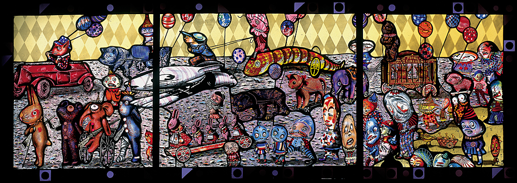 The Patron Saint of Circus Apes Day Parade, 2000: Judith Schaechter. Stained glass, light box. Photo: Ed Watkins, 2007