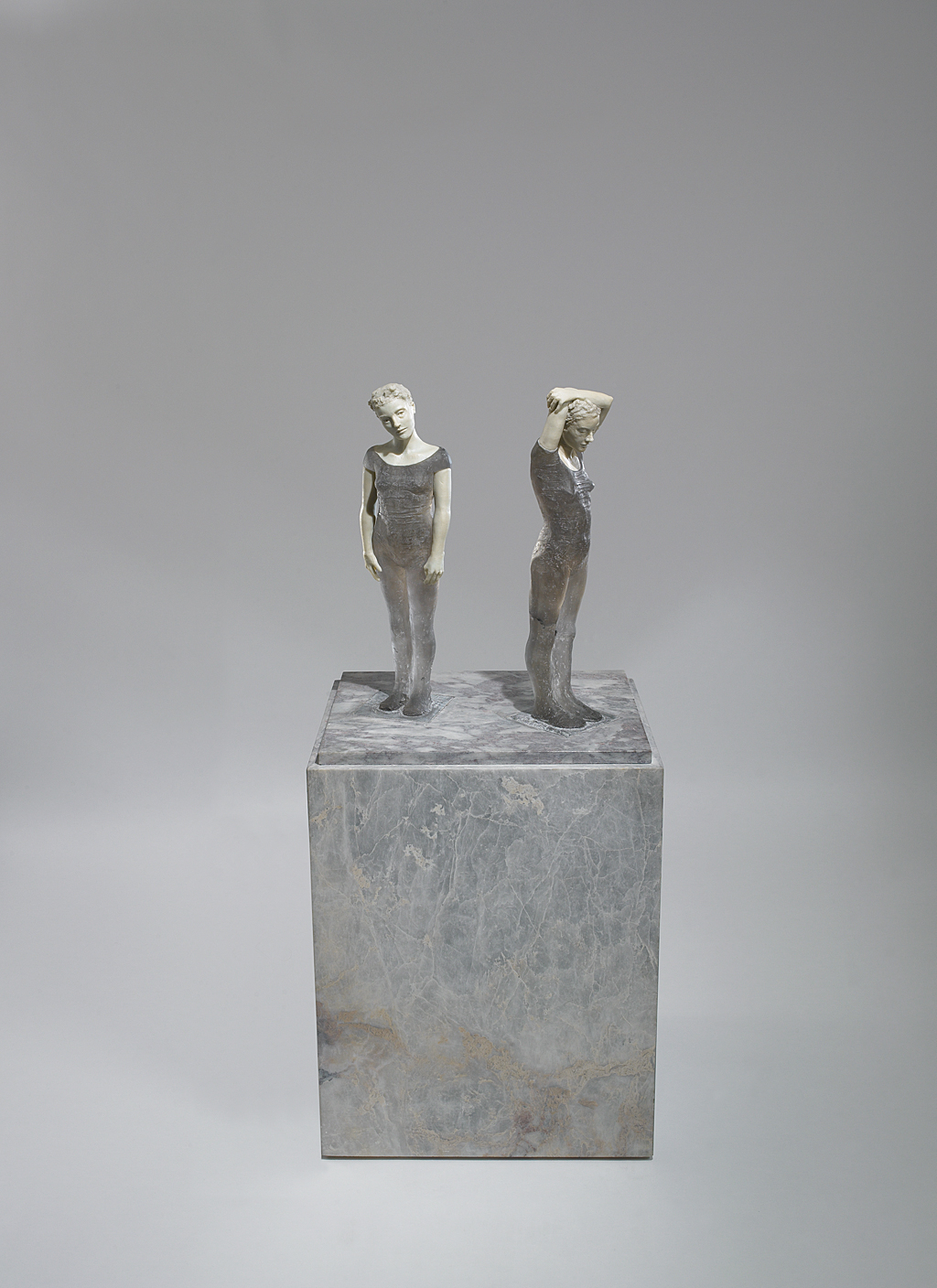 Grey Figures, 2000: Nicholas Africano. Cast leaded glass, hand-painted marble base. Photo: David Behl, 2012