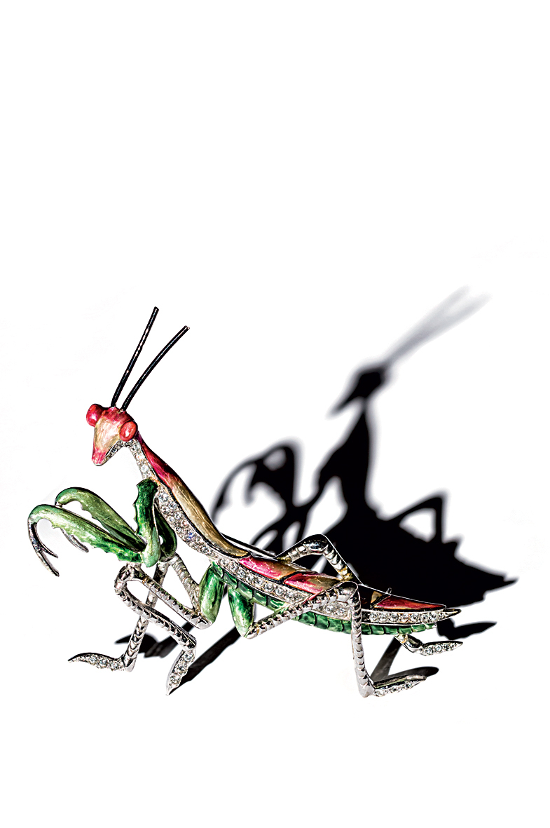 "Marcel Boucher (1941), United States: ""Praying Mantis"" brooch. Colored enamel, rhinestones, rhodium plated. Signed MB Pat. Pend. © Pablo Esteva"