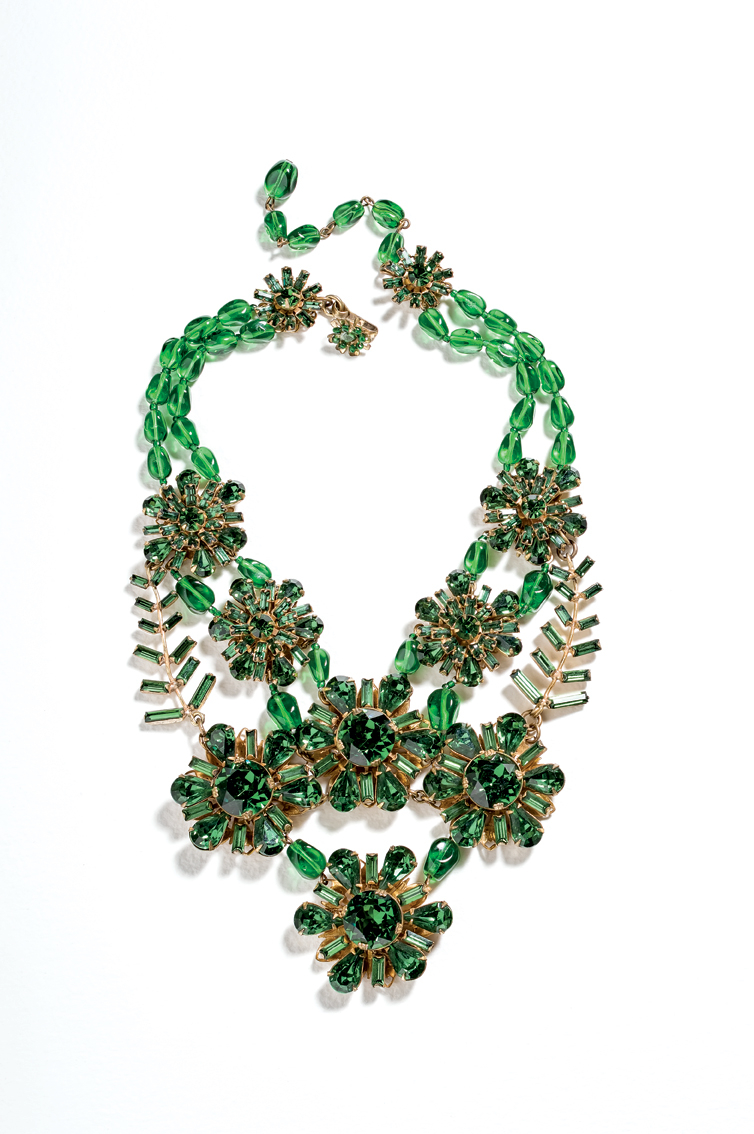 Miriam Haskell (1954), United States; designer: Frank Hess: Bib necklace. Glass beads, rhinestones, gold plated.