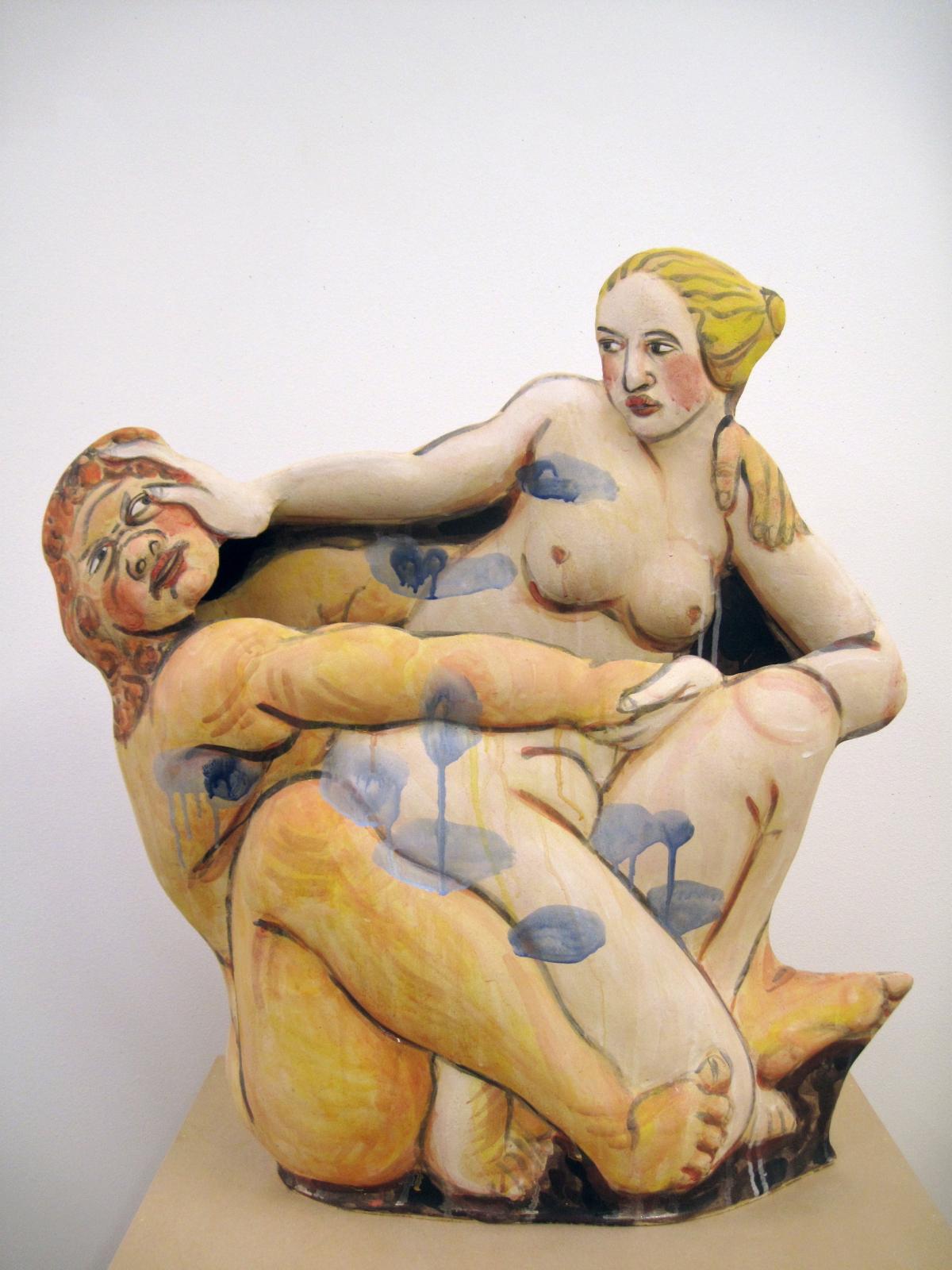 Akio Takamori: Nymph and Satyr, 2011  Stoneware with underglazes  34 x 25 x 10 in. (86.4 x 63.5 x 25.4 cm)  Courtesy of the artist; Barry Friedman, Ltd.  Photo: Vicky Takamori