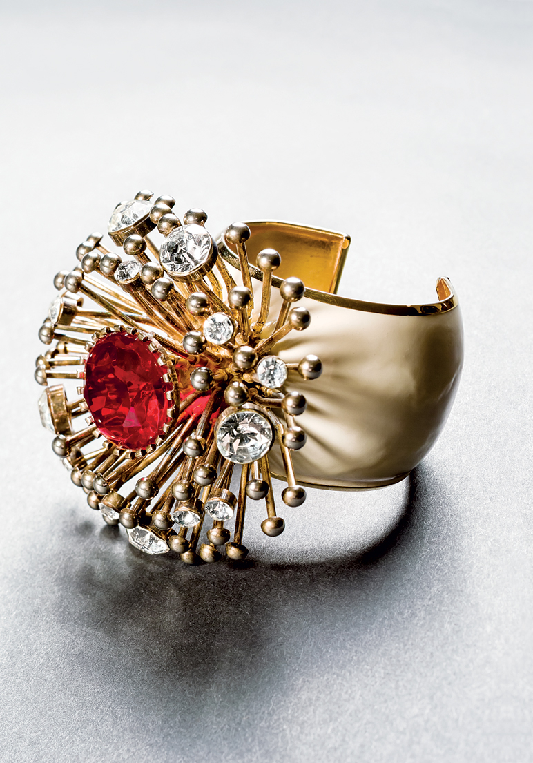 Valentino  (circa 1970s–1980s), Italy: Open cuff bracelet. Colored enamel, rhinestones, gold plated. Signed Valentino. © Pablo Esteva
