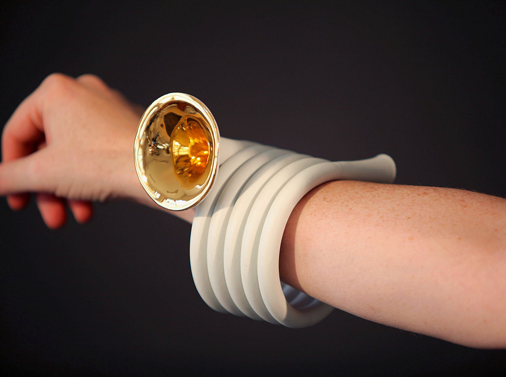 Horn Bracelet, 2010: Arjen Noordeman, Christie Wright; Porcelain, gold luster; Museum purchase with funds provided by the Collections Committee, 2011, Photo by Louise te Poele