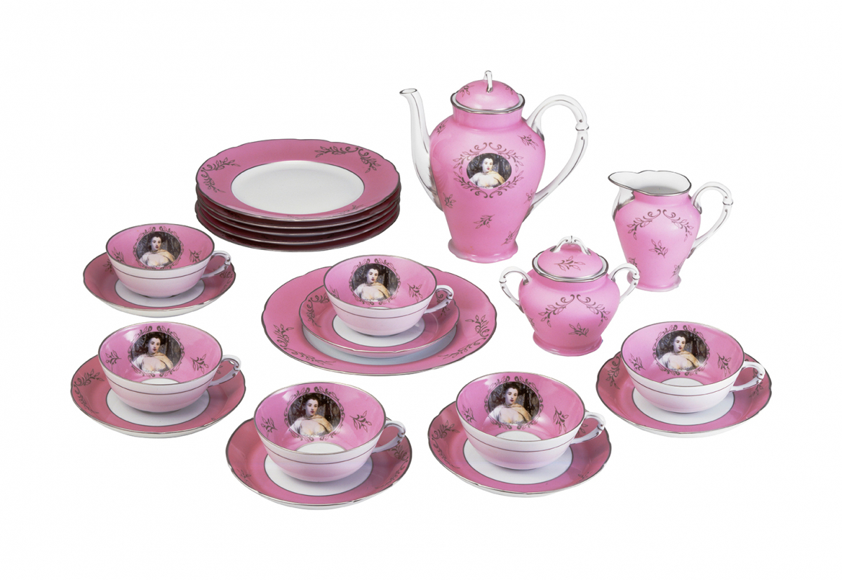 Ancienne Manufacture Royale Limoges, Cindy Sherman, Artes Magnus: Madame de Pompadour (nee Poisson), 1990, Porcelain, glaze; photo-silkscreened, Variable dimensions