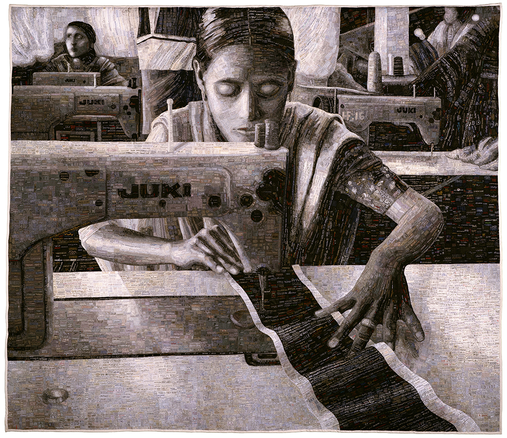 Terese Agnew: Portrait of a Textile Worker, 2005, Clothing labels, thread, fabric backing, 94 1/2 x 109 3/4 in. (240 x 278.8 cm