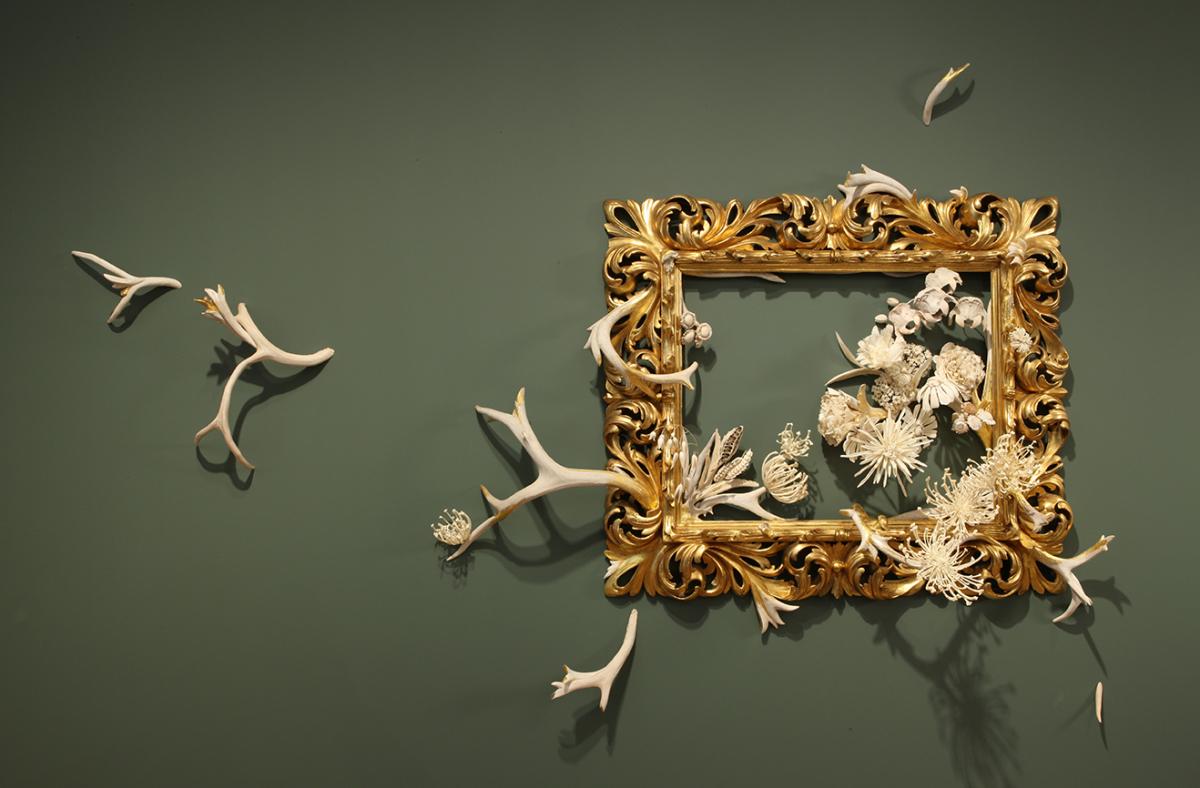 Jennifer Trask: Intrinsecus, 2010, Wood, bone, antler, silver, gold leaf, 52 x 82 x 10 in. (132.1 x 208.3 x 25.4 cm)