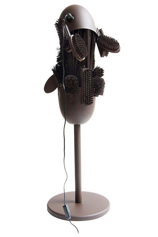 Rodrigo Almeida, Servant Lamp from Slaves Series (2013): Steel, wood and plastic - Courtesy of the artist. Brazil. Photo by Studio Rodrigo Almeida.
