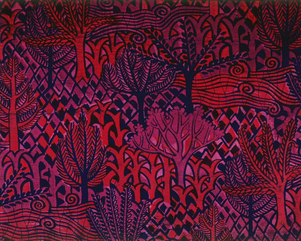Larsen Design; Studio Jack Lenor Larsen: Bas Relief, 1968 Cotton velvet; resist dyed, Indigo dyed, printed, hand blocked 36 x 50 in. (91.4 x 127 cm) Museum of Arts and Design, Gift of Jack Lenor Larsen, 2001, 2001.84 Photo credit: Eva Heyd