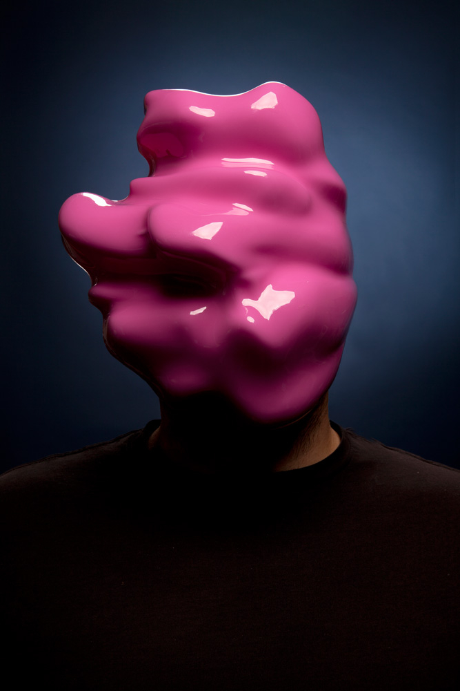 Fag Face Mask, 2012: Zach Blas,  Vacuum formed, painted plastic, Photo: Christopher O