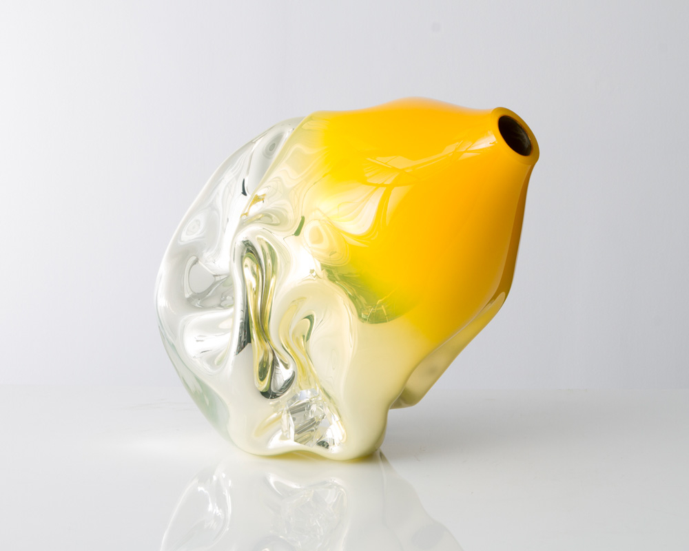 Jeff Zimmerman; Unique crumpled sculptural vessel in mirrorized yellow hand-blown glass with glass gems, 2014: Glass;  Photo: Joe Kramm for R & Company