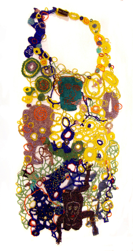 Bib Neckpiece, 2009: Woven glass beads; Courtesy of Mobilia Gallery