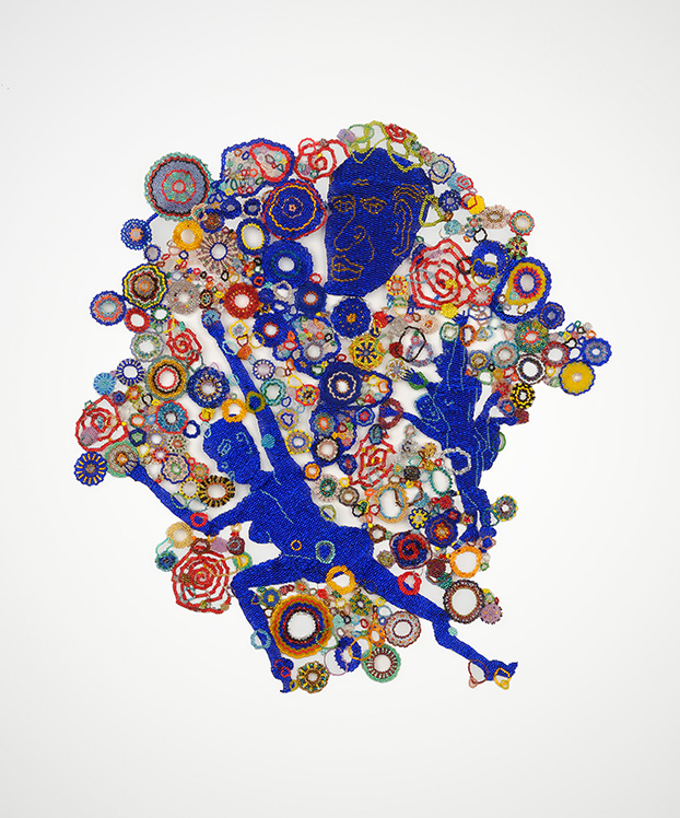 Cobalt, Yellow Circles, 2010: Cobalt, Yellow Circles, 2010  Glass beads, thread; Collection of Joanne Gold and Andrew Stern; Courtesy of Goya Contemporary; Photographer: Michael Koryta