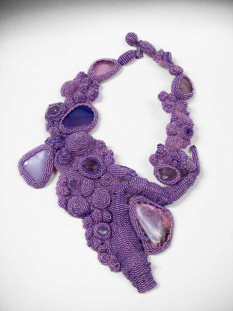 Lava Lavender, ca. 2000: Glass beads, thread, glass, photographs, amethyst; Courtesy of Mobilia Gallery, Cambridge, MA