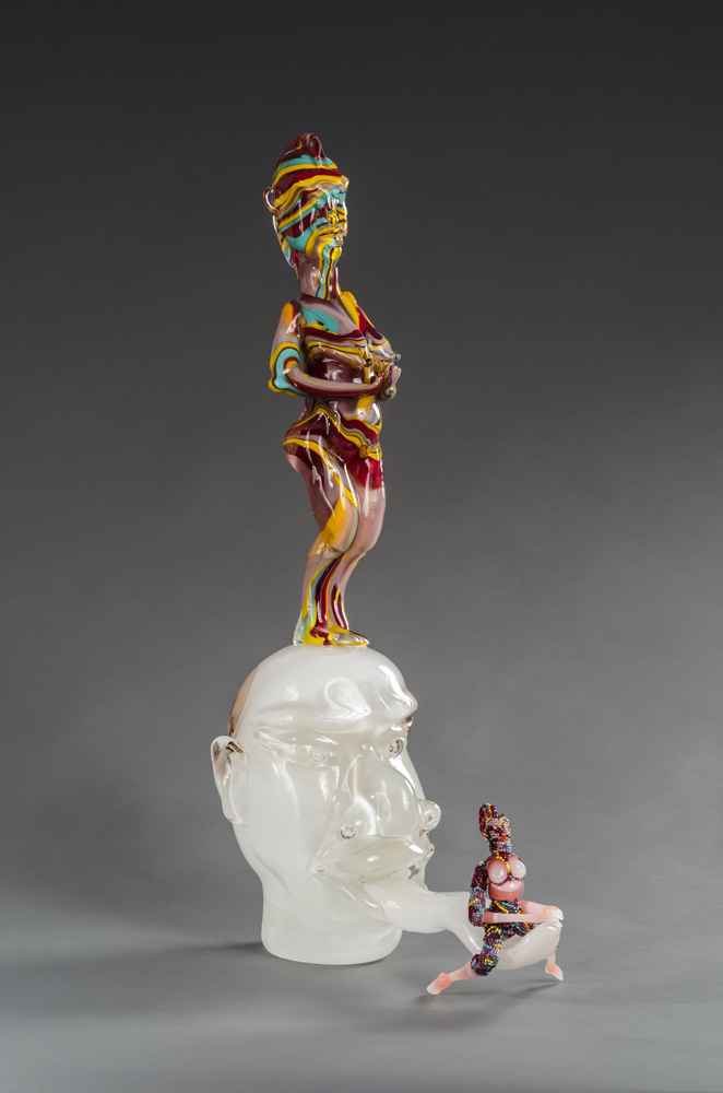 White Tongue, 2013: Hand-blown Murano glass processes with beads and thread; Courtesy of Goya Contemporary; Photographer: Michael Koryta