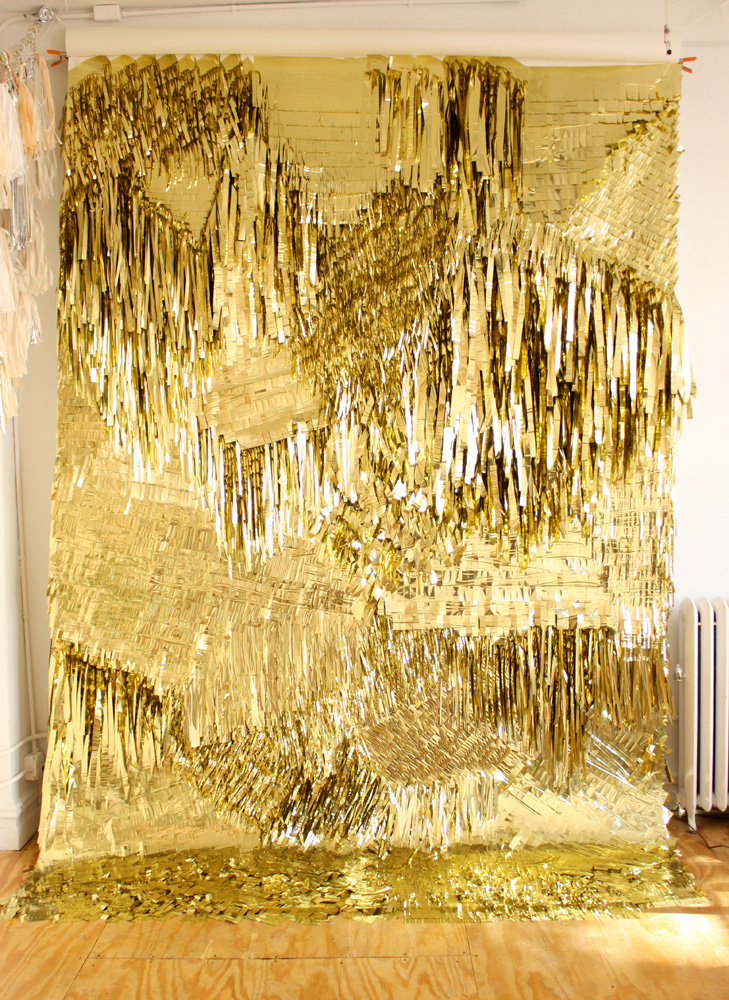 CONFETTISYSTEM; Gold Wall, 2010: Metallic foil, canvas, Photo: CONFETTISYSTEM