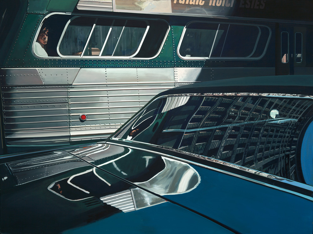 Bus with Reflection of the Flatiron Building (1966-1967): Oil on canvas 36 x 48 in. Private collection Photo by Luc Demers
